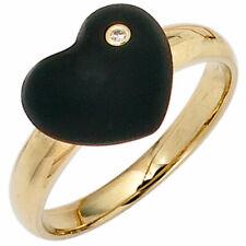 Anello donna cuore onice nero diamante brillante oro 585 giallo