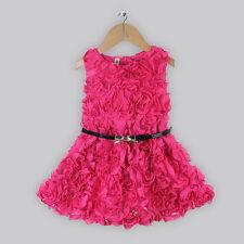 Caliente Rosa Rosa Niñas Vestido Con Cinturón, fiesta. Boda. Flowergirl, Casual (sku094)