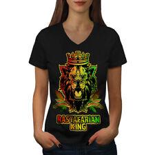 Lion Weed Stoner Rasta Women V-Neck T-shirt NEW | Wellcoda