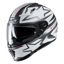 hjc i 70 cravia grafica opaco casco integrale grigio bianco matt + pinlok
