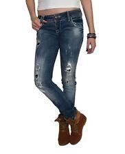 Damen Jeans Hüfthose Röhre Slim-Fit Stoff Skinny blau 2% Stretch Decon - Lilly-