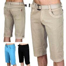 Uomini Chino Capri Bermuda giacca pantaloncini cargo orlo con cintura