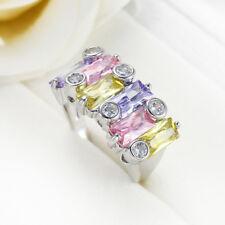 Hanmade Genuine Amethyst Pink Topaz Lemon Topaz Gemstone Silver Ring Size 6-10