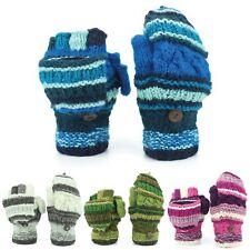 Chunky Wool Gloves Fingerless Shooter Mixed Knits Mittens Flap Fleece Striped