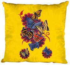 (09842-1 jaune) Oreiller Dekokissen 40 x 40 cm Coussins décoratifs PAPILLONS