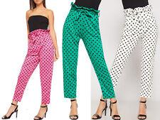New Polka Dot PaperBag Tie Waist Pocket Trousers Womens High Waist Summer Pants