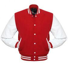 Varsity Letterman Wool Jacket with Leather Sleeves