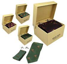 Jack Pyke Tie Hanky and Cufflinks Gift Set Hunting Wine Green Cartridge Pheasant