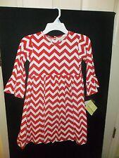 NEW RED & WHITE CHEVRON COTTON KNIT BLEND ZUCCINI YOKE MONOGRAMABLE DRESS