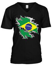 Brazilian Flag Tear Design República Federativa do Brasil Mens V-neck T-shirt