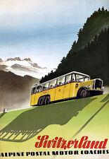 Svizzera ALPINA POSTALE MOTORE coachestravel Vacanza A3 ART POSTER stampati