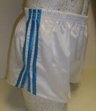 Retro Nylon Satin Football Shorts S to 4XL, White & Turquoise