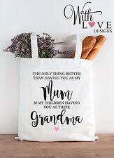 GRANDMA NAN MUM TOTE SHOPPER SHOPPING BAG GIFT PERSONALISED MOTHERS DAY BIRTHDAY