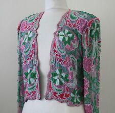 Jasdee Vintage Beaded Bolero Jacket Hand Work Hand Print On Silk Style 3071
