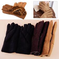 Sheepskin Leather Fur Full Finger Gloves Mittens Winter Warm Women Men