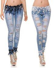 Sexy KouCla Skinny-Jeans Damen Hose  Jeans mit Stickerei Spitze