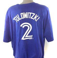 NEW Mens Majestic Toronto Blue Jays Troy Tulowitzki #2 MLB Blue Tee T-Shirt