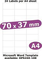 70x37mm 120 Etiquetas Matt Libro Blanco De 5 Hojas A4 Laser Copiadora de inyección de tinta pegatinas