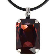 Grevenkämper Halskette Swarovski Kristall Silber Rechteck 26 mm rot Burgundy