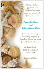 10 30 50 80 100 SEASHELLS on White BEACH 5X7 WEDDING Invitation Custom
