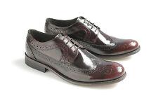 Ikon Yorke Mens Bordo Leather Brogue Shoes Retro Mod Rock 60S