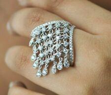 Real 925 Sterling Silver cocktail ring Tassel dangle fancy jewelry unique women