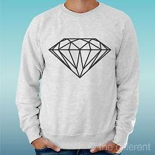 "FELPA UOMO LEGGERA SWEATER GRIGIO CHIARO GREY "" DIAMANTE DIAMOND DRAW DISEGNO """