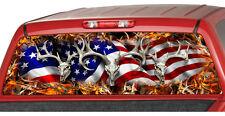 AMERICAN WAVING FLAG Buck Skull Flames Rear Window Graphic Decal Tint suv camo