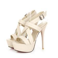 Décollte Zapatos sandalias perno 13.5 tacón de aguja crema élégant 241