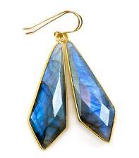 Labradorite Earrings Blue X Large Long Bezel Pointed drops 2.5 14k Gold Sterling