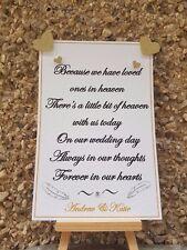 Personalised Wedding Memorial sign remembering loved ones in heaven