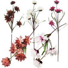 5 Head Satin Mum Sprays - Artificial Silk Flowers Fake Stem Spiky Chrysanthemum