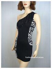 NWT W/B Gioia Clubwear Exotic One Shoulder Zebra Print Fringe mini Dress S M L