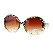 Glitter Leopard Print Oversized Round Circle Frame Sunglasses