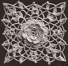 Vintage Crochet PATTERN to make Irish Rose Bedspread Motif Block Square Cinderel