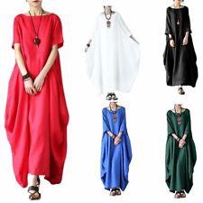 Womens Bat Baggy Maxi Long Shirt Dress Casual Party Kaftan Solid Robe Y2S6