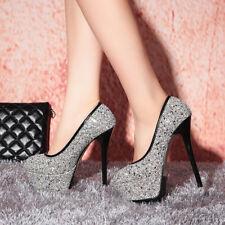 Décollte Shoes Court Woman Stiletto Heel 14 cm Plateau 4.5 Black Rhinestone 1630
