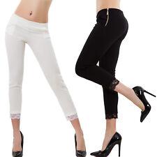 Pantaloni donna eleganti aderenti capri 3/4 pizzo slim skinny sexy VB-6131