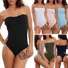 Body donna spalle nude costine bandeau elegante aderente sexy scollato JL-19901
