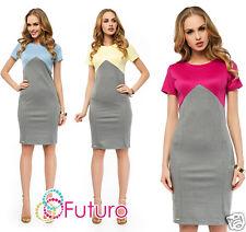 Formal Pencil Dress Short Sleeve Crew Neck Bodycon Office Tunic Sizes 8-14 FA408