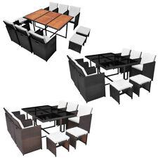 vidaXL Outdoor Dining Set Table Chairs 27 Piece Rattan Wicker Black/Brown Garden