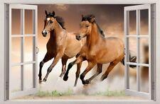 WANDAUFKLEBER FENSTER 3D PFERD Pferde Wand Aufkleber Wandtattoo 68