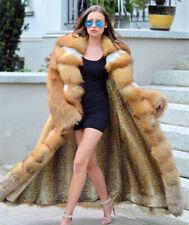 Luxury Women's Genuine Whole Skin Red Fox Fur Coat Lapel Collar Jacket Overcoat