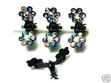 Nuevo pelo 4 paréntesis set Swarovski piedras multi/cristal a partir de cabello paréntesis pelo clip