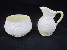 Belleek Creamer & Sugar bowl 1st Green 4th Mark 1946/55 Toy Shell Pattern