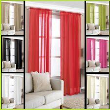 2 Slot Top Voile Net Panels, Voiles Curtains Pair, Rod Different Colours & Sizes