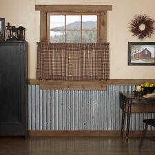 VHC Primitive Tier Pair Crosswoods Kitchen Curtains Rod Pocket Tan Cotton