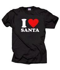 I Love Santa T-Shirt Christmas Party Gift Tee Shirt Santa Claus T Shirt