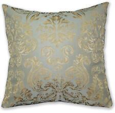 HC602a P Turquoise Blue P Tan Floral Jacquard Cotton Cushion Cover/Pillow Case