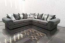 Big Corner Sofa Suite Venon Fabric, 3+2 Seater, Armchair- Grey Fast Delivery